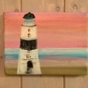 Swedish Lighthouse in winter blushing sky