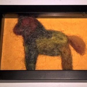 Dalahorse- needled felted wool sculpture in a frame