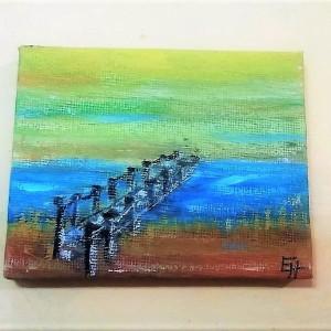 """The Bridge"" – A Swedish Footbridge over a brook, acrylic painting on canvas"
