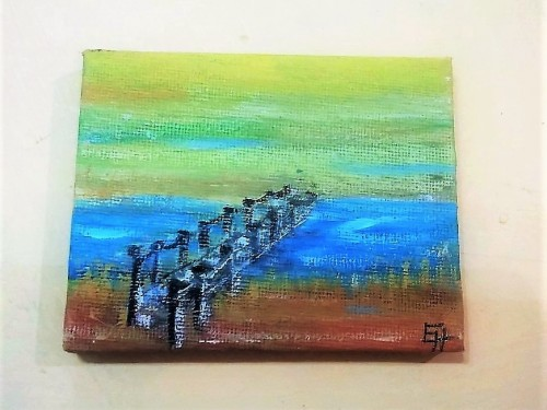 """The Bridge"" – A Swedish Footbridge over a brook, acrylic painting on canvas"