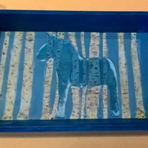 Swedish Birch Magic & Horse Power – Handpainted Wooden Tray