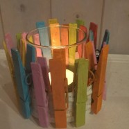 Oh So Pastel – Tea Light holder of recycled clothes pegs and glass