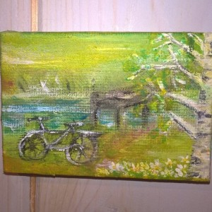 spring jetty canvas painting mini
