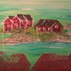 Oh So Green & Red Stockholm Archipelago – Small Canvas painting