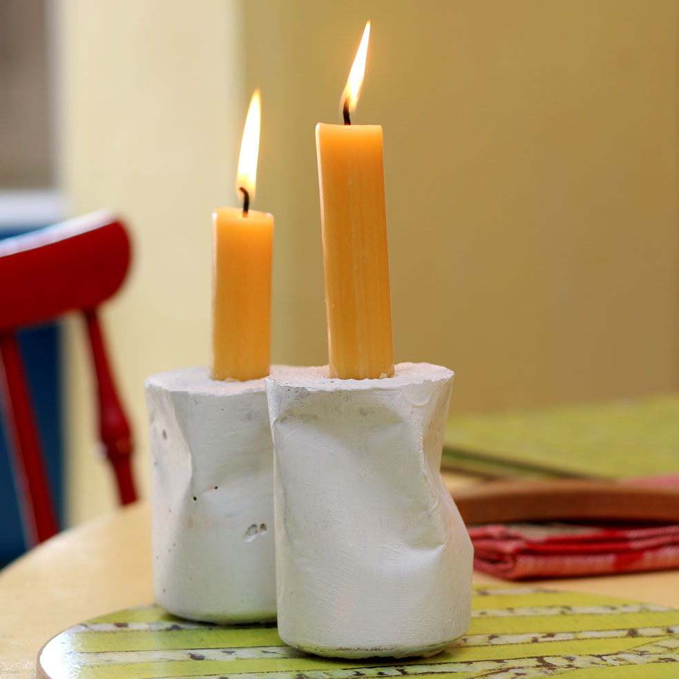 Chunky Concrete Coca-Cola Can moulded Candle holders